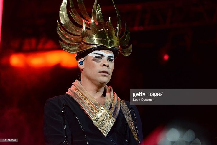 Musician Luke Steele of the band Empire of the Sun performs onstage during KROQ's Weenie Roast at Irvine Meadows Amphitheatre on May 14, 2016 in Irvine, California.