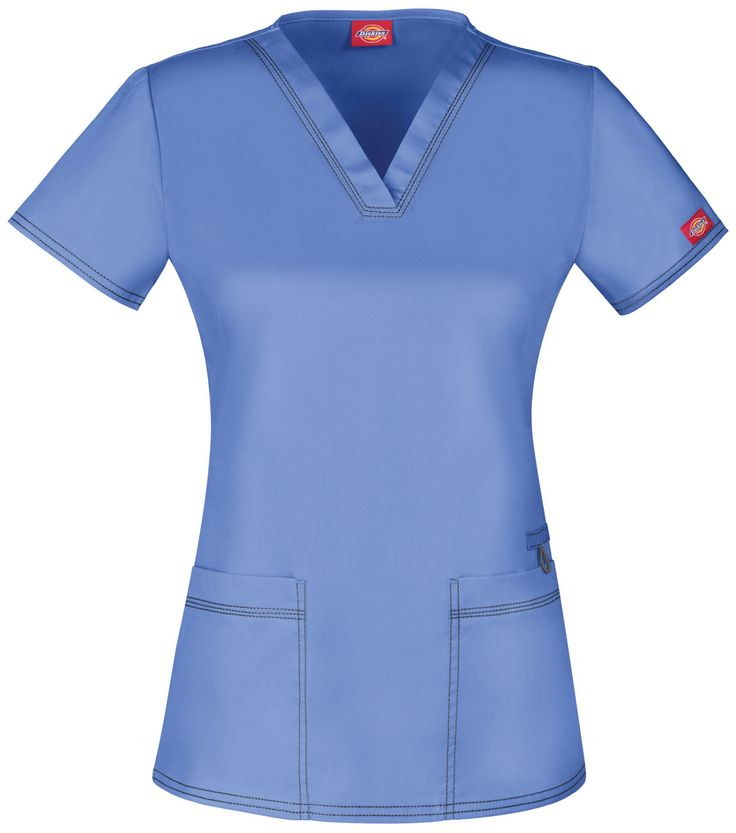 """A Contemporary fit V-neck top features two patch pockets with instrument slots and a bungee loop above the right pocket. Also featured is multi needle contrast topstitching (White takes tonal topstitching) and side vents. Center back length: 26"""" Sizes: XXS - 5XL Color: Ceil Blue (CBLZ) Brand: Dickies"""