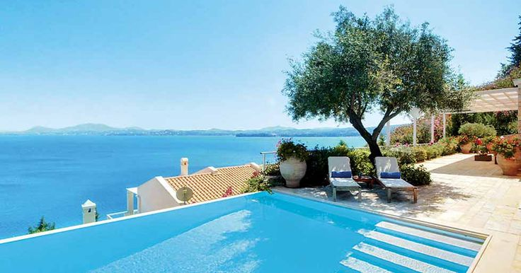 Blue is home to three stunning villas that are perfectly placed on the Greek hillside. All three look out onto the beautiful Ionian Sea.
