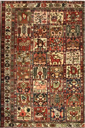 Good Looking #BakhtiarGardenDesignRugs Online From Style India   Tibal weave, classic Garden panel design. Wool pile / vegetable dyes.