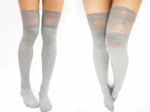 Thigh Lace Knit Knee High socks Boot socks   Free Size