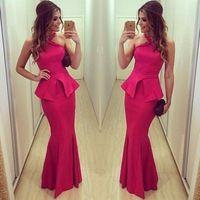 Горячая распродажа баски красный атласная холтер русалка платье длиной до пола длиной вечернее ну вечеринку платья