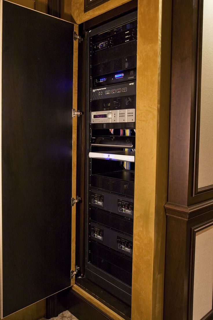 home theater media closet built in theater room completed