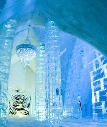 Visit the Hotel De Glace. Hotel in Quebec, Canada completely made of ice!