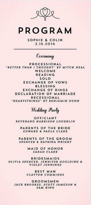 35 Simple Wedding Reception Program Sample Ideas Wedding