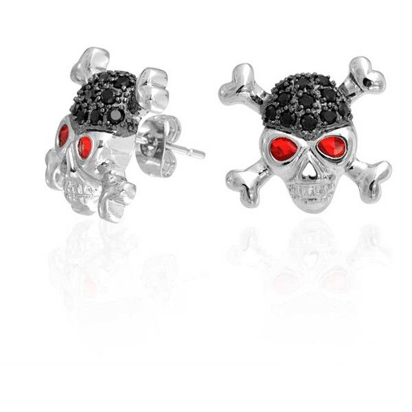Black Ruby Color CZ Eye Skull Cross Bones Stud Earrings ($21) ❤ liked on Polyvore featuring men's fashion, men's jewelry, black, earrings and mens watches jewelry