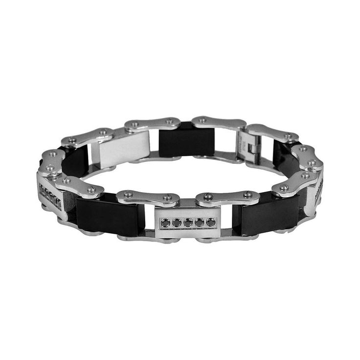 Stainless Steel and Black Immersion-Plated Stainless Steel 1/2-ct. T.W. Black Diamond Bracelet - Men, Size: 8.5""