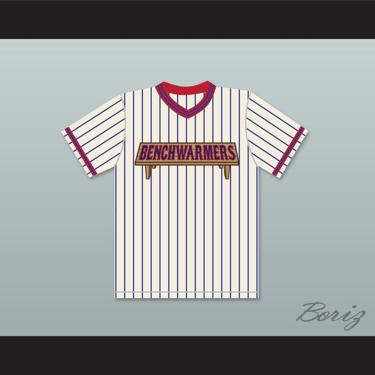 """Rob Schneider Gus Matthews 44 Benchwarmers Pinstriped Baseball Jersey. STITCH SEWN GRAPHICS  CUSTOM BACK NAME CUSTOM BACK NUMBER ALL SIZES AVAILABLE SHIPPING TIME 3-5 WEEKS WITH ONLINE TRACKING NUMBER Be sure to compare your measurements with a jersey that already fits you. Please consider ordering a larger size, if you prefer a loose fit.  HOW TO CALCULATE CHEST SIZE: Width of your Chest plus Width of your Back plus 4 to 6 inches to account for space for a loose fit. Example: 18"""" wide chest…"""