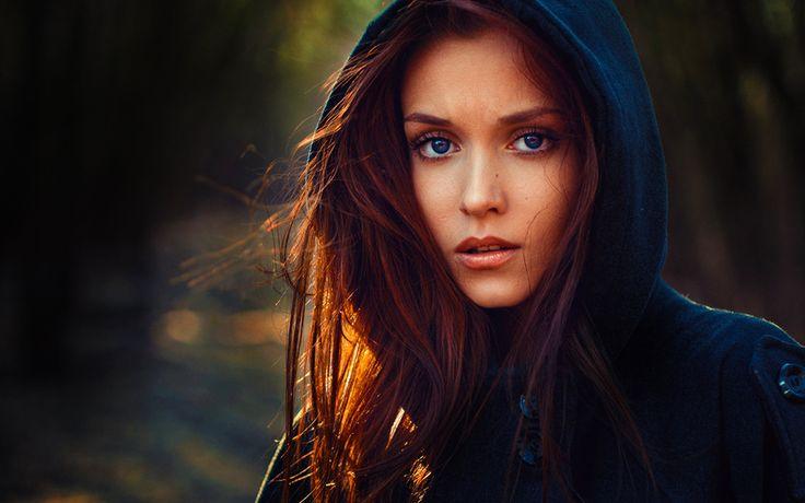 Девушка, лицо, голубые глаза, губы, глаза, пальто, шапка, фото, портрет, красивая
