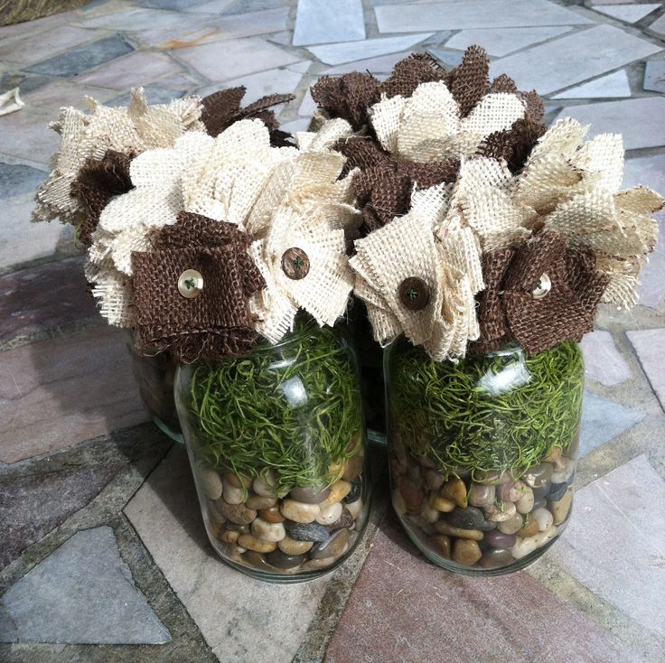 Burlap Party Decor   ... Burlap Flowers Great for Weddings Parties Showers Gifts or Home Decor