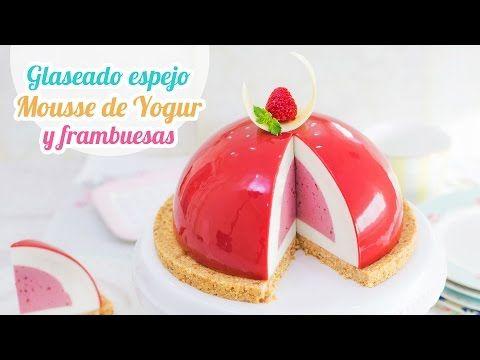 Glaseado espejo sin glucosa sobre mousse de yogur y frambuesa | Mirror Glaze | Quiero Cupcakes! - YouTube
