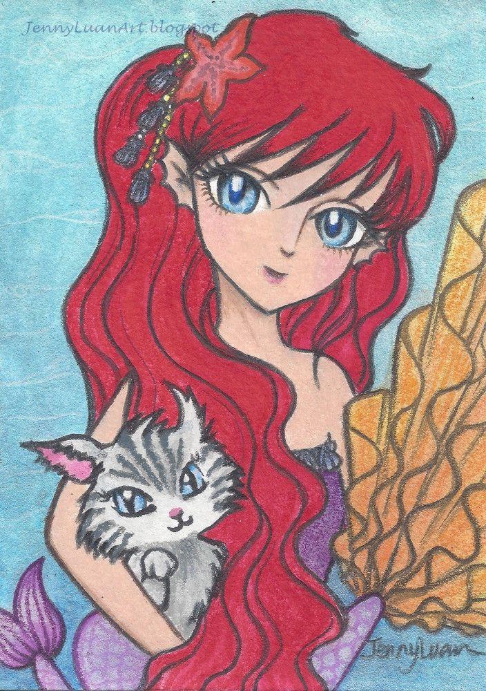 ACEO Original anime manga mermaid color pencil drawing fall frenzy FF cat fish  #Realism