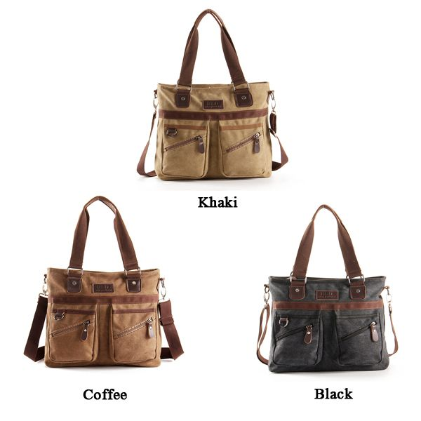 Multi Pocket Crossboby Bag Dual Use Shoulder Bag Canvas Handbag For Men