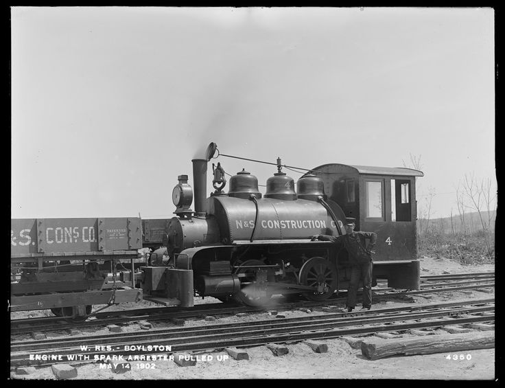 Wachusett Reservoir, N&S locomotive, Boylston, Mass., May 14, 1902