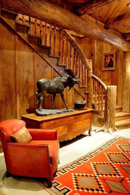 Rustic basement by peace design log cabins victorian for Log cabin basement ideas