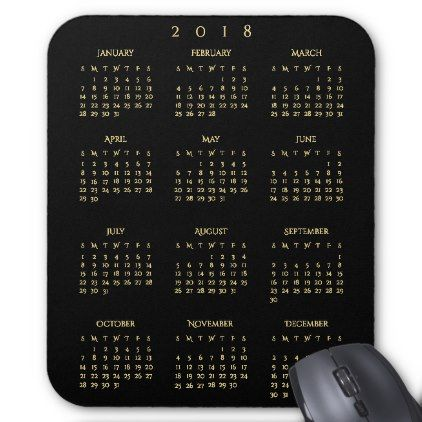 2018 Yearly Calendar Faux Gold Black Home Office Mouse Pad - classic gifts gift ideas diy custom unique