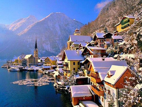 Alpine Village, Hallstatt, Austria.Hallstatt Austria, Favorite Places, Winter Wonderland, Snow, Beautiful Places, Christmas, Lakes, Travel, Hallstattaustria