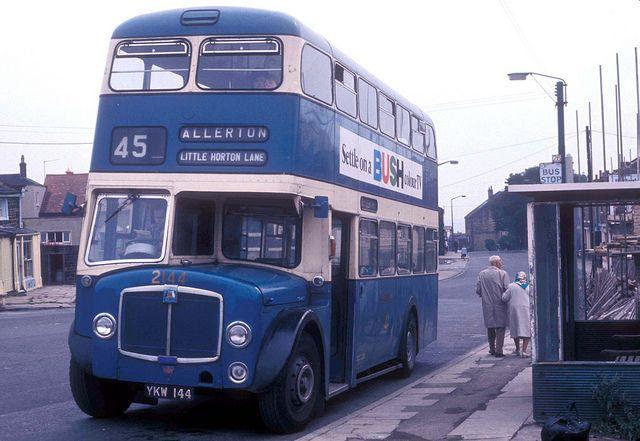West Yorkshire Passenger Transport Executive (WYPTE) formerly Bradford Corporation AEC Regent V YKW 144 (fleet No 2144) in Bradford, England...