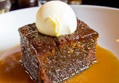 Sticky toffee pudding consists of a dark sponge cake (with the key ingredient of chopped dates) soaked with sweet toffee sauce, a concoction of butter, sugar, and cream that's impossible not to love!