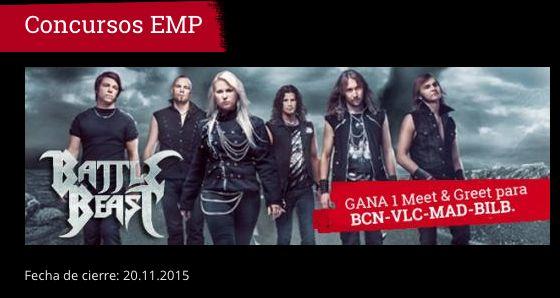 **CONCURSOS EMP** EMP y MADNESS LIVE te invitan a participar en el concurso BATTLE BEAST MEET AND GREET.  Donde se sorteará 1 MEET AND GREET para cada una de las 4 fechas de su UNHOLY TOUR por España. http://emp.me/B8b fecha de cierre : 20.11.2015 #EMPSpain #ConcursosEMP #MeetandGreet #BattleBeast  EMP Online España • Tienda Rock •Heavy • Metal • Gótica y Alternativa