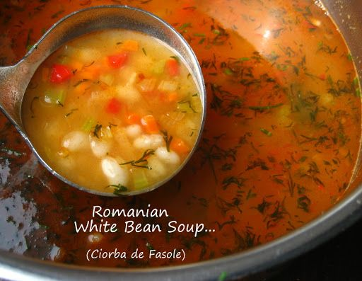 Romanian Vegetarian White Bean Soup (Ciorba de Fasole)... using a 1 pound bag of white beans to make 2 dishes (Part 1).  I know, I'm po...