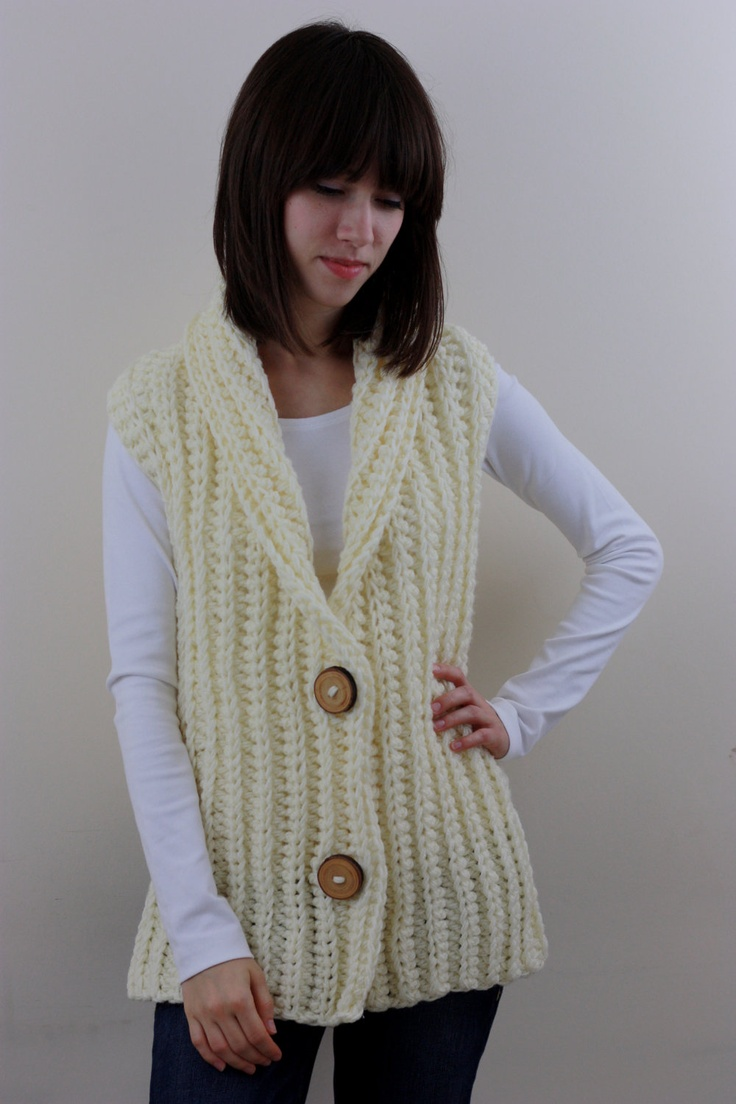 71 best knitted waistcoats for adults images on pinterest blouse items similar to vest for women women s chunky waistcoat in cream on etsy bankloansurffo Gallery
