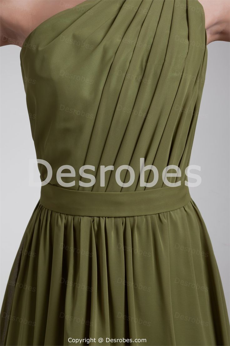 Robe demoiselle d´honneur longue Vert olive en mousseline de soie plein longueur