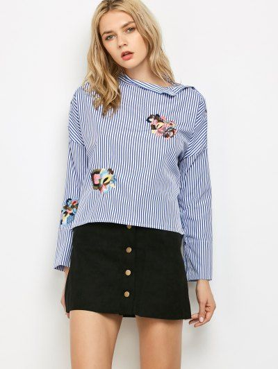 SHARE & Get it FREE | Striped Stand Neck Embroidered BlouseFor Fashion Lovers only:80,000+ Items • New Arrivals Daily • FREE SHIPPING Affordable Casual to Chic for Every Occasion Join Zaful: Get YOUR $50 NOW!