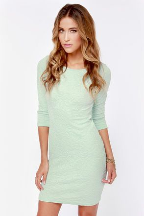 Form Fitting Mint Green Dress with Medium length sleeves and cutout back Lulu's $41
