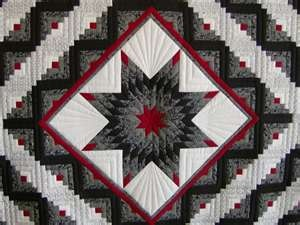 For sale in the shop - Lone Star log cabin quilt in red/black/white ...