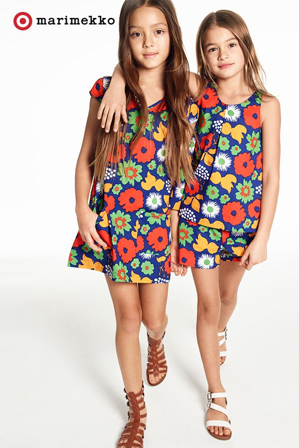Dress your little fashionista in the latest floral print from the Marimekko for Target collection. This big, bold and beautifully created Kukkatori print was inspired by the abundance of colorful flowers at a marketplace in the summer. This Girls' Cap Sleeve Dress and the Tank Top and Short Set will be available April 17th. Click to peruse all of the pieces within the collection lookbook featuring fashion, home, outdoor and more.
