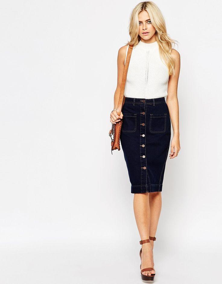 Image 1 ofFashion Union Button Through Denim Midi Skirt