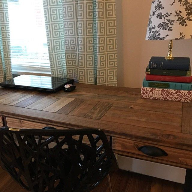 Pallet Wood Side Table With Metal Legs And Lower Shelf Wood