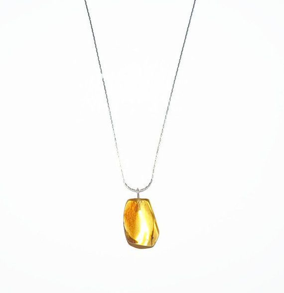 Natural Amber Jewelry, Yellow Baltic Amber pendant