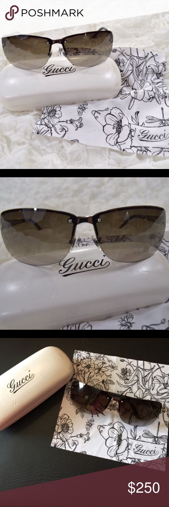 Authentic Gucci Sunglasses Beautiful Gucci sunglasses🎀 Authentic🎀 Great condition-only worn a handful of times🎀Case and Gucci cleaning cloth are included🎀 Smoke free and pet free home Gucci Accessories Sunglasses