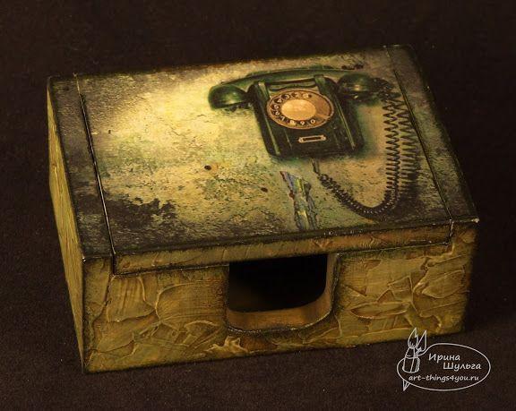 "Desktop business card holders in the ""old phone"" / Визитница настольная ""Старый телефон"""