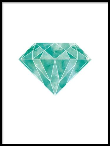 Plansch med grafisk diamant. En grafisk poster med en diamant / smaragd i vacker grön, turkos färg. Den här postern fungerar både som färgklick till neutrala toner i inredning eller till andra snygga färger.