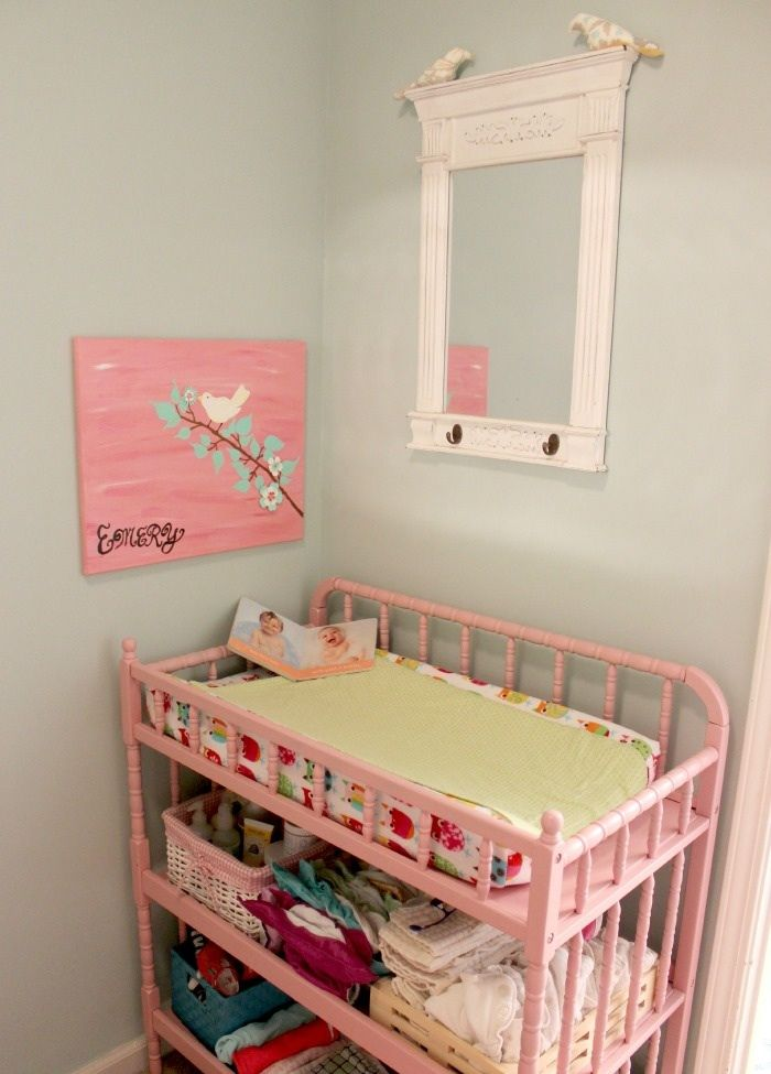 Adorable Baby Girl Nursery In A Master Bedroom Closet Yellow Mint Green Pink And Birds