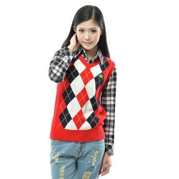 Wholesale Style Vest - Buy Female Fashion Preppy Style Vest Women V-neck Pullover Knitted Yarn Vest Waistcoat Red Square Grid, $35.14 | DHgate. Tags: cardigan, elegance, girl, ivy league, jeans, jumper, look women, preppy, pullover, shirt,  sleeveless sweater, smart casual, v-neck, джинсы, преппи
