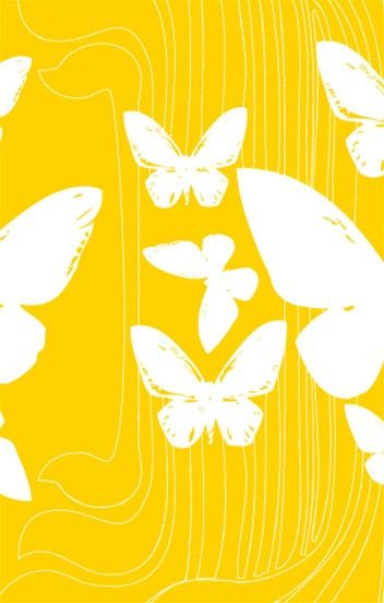 Butterflies Wallpaper in Yellow and White design by Kreme