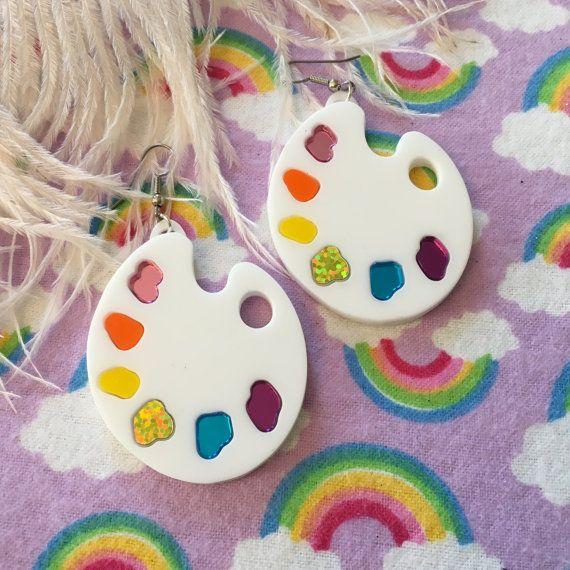 Artist Paint Palette Laser Cut Acrylic Earrings by imyourpresent