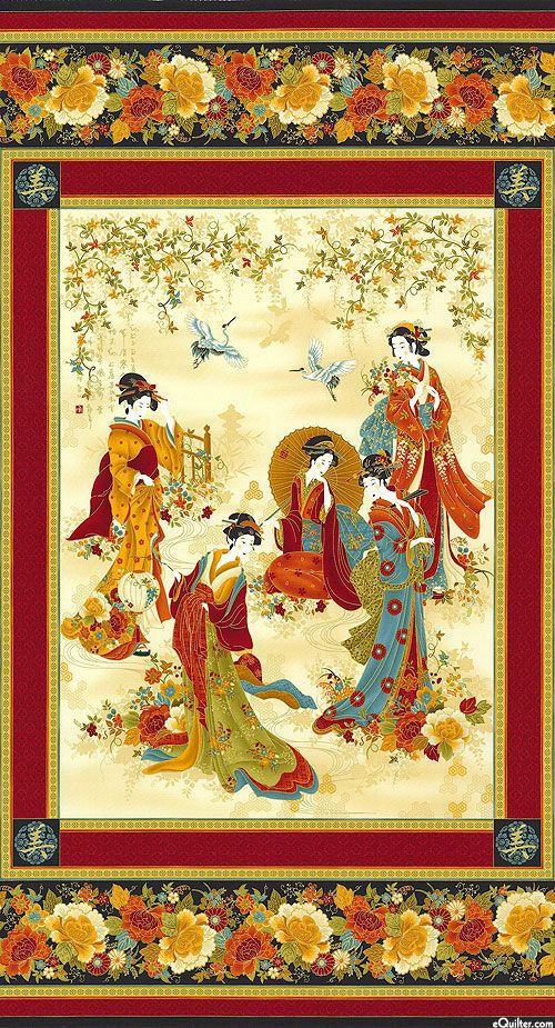 "Kyoto Blossoms - Geisha Autumn - 24"" x 44"" PANEL - Quilt Fabrics from www.eQuilter.com"