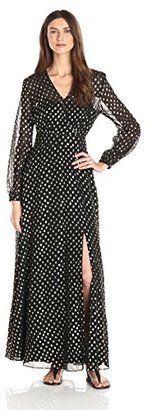 Eliza J Women's Long Sleeve Maxi Shirt Dress - Shop for women's Shirt - Black/Gold Shirt