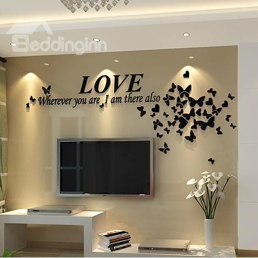 Love Letters And Butterflies Acrylic 3D TV Sofa Background Waterproof Wall Stickers