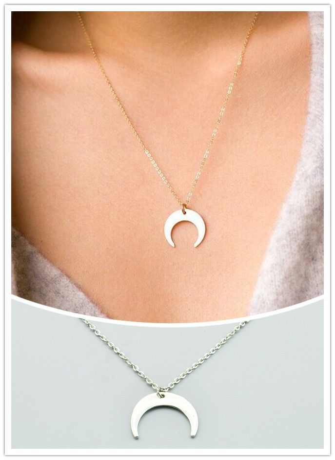New fashion jewelry  Crescent horns moon pendant necklace  gift for women girl  N1868