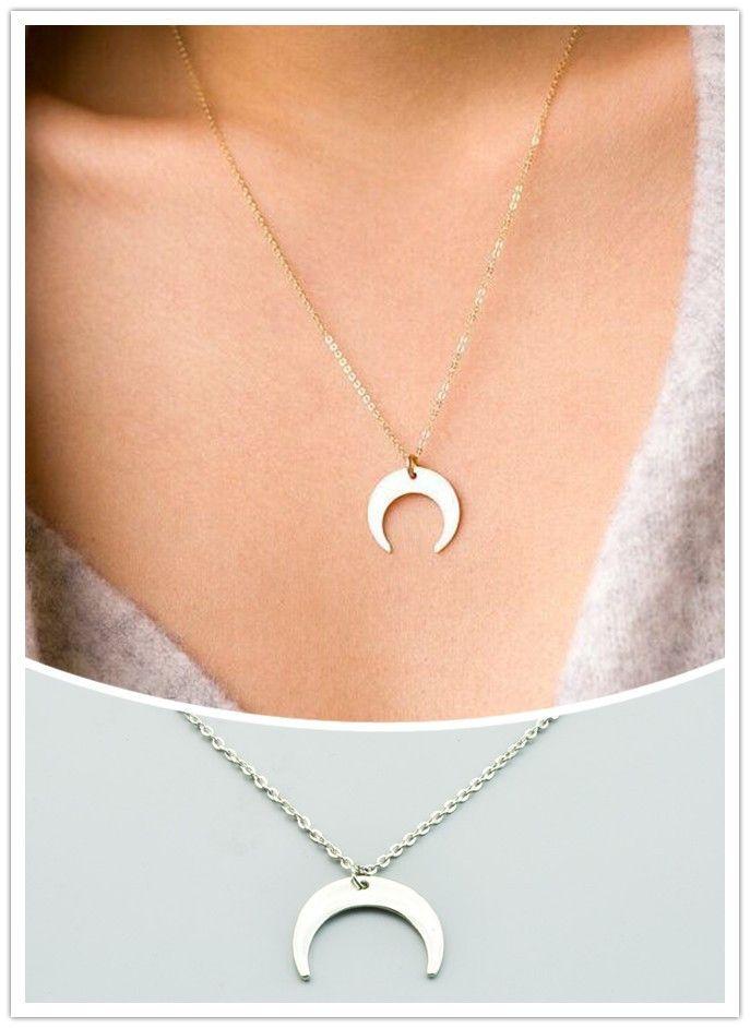 Neue modeschmuck Crescent hörner mond anhänger halskette geschenk für frauen mädchen N1868