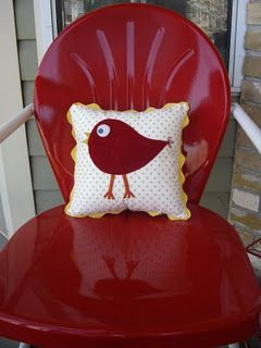 little  wool and cotton birdy pillow vintage red porch chair...red and white...love it...