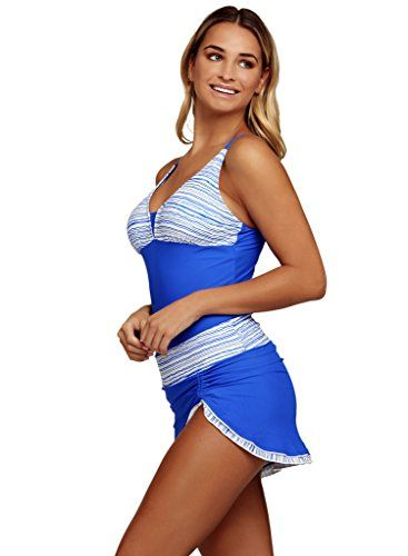 Aleumdr Womens Plunge V Neck Patchwork Striped Tankini Swimsuit with Pantskirt Sexy Tankinis Plus XL Size Blue