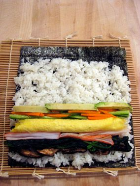 futo maki : the image of laid out : before rolling
