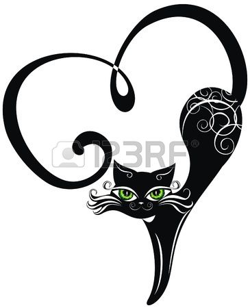 Chat noir avec coeurs